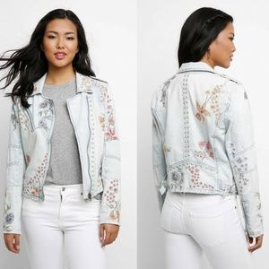 Blank NYC Embroidered Moto Jean Jacket HW7103